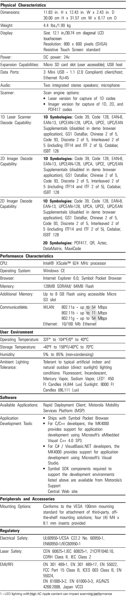 MK4000 Specifications
